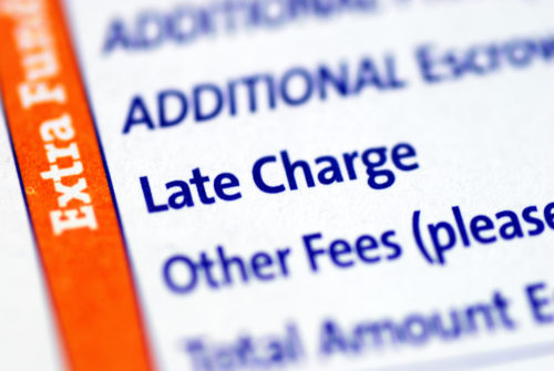 Close-up look at the Late Charge terms on a payment agreement