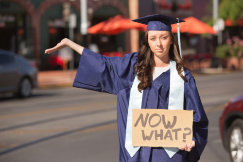 """A young woman in a graduation cap and gown quizzically holds up a cardboard sign that says, """"Now what?"""""""