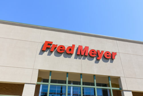 A photo showing the Fred Meyer logo on its store.