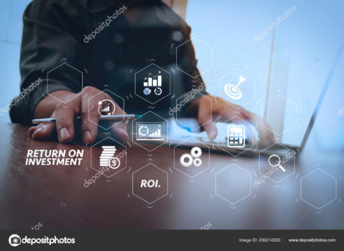 """An image of a person doing research on a laptop, overlayed with graphics referencing financial research and the words """"return on investment."""""""