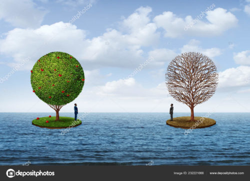 An image of an ocean with two islands. Each island has a tree and a man standing and facing the other island. One island has grass and a green, fruit-bearing tree; the other island has dead grass with a dead tree.