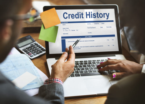 """A man and his financial advisor sit at a laptop where the screen reads """"credit history."""""""