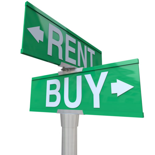 """A graphic of a street sign with markets pointing in different directions that read """"rent"""" and """"buy."""""""