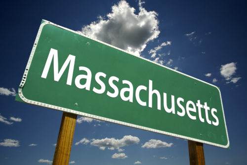 """A road sign that reads """"Massachusetts."""""""