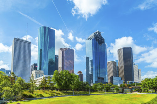 A photo of the skyline of Houston.