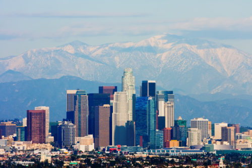 A photo of the Los Angeles skyline.