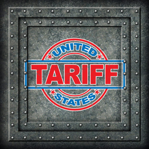 """A metal plate had the words """"United States tariff."""""""