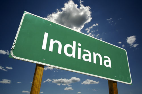 """A road sign that reads """"Indiana."""""""