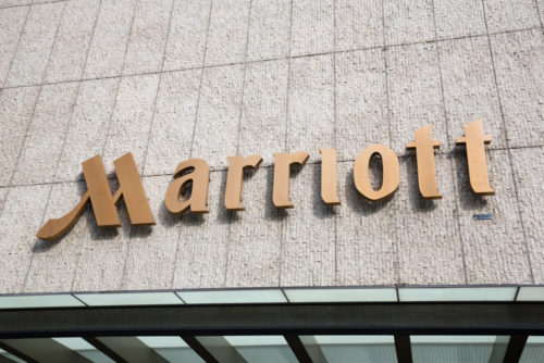 An image of the exterior of a Marriott hotel.