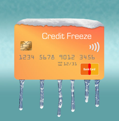 """Ice and snow cover a mock credit card labeled """"credit freeze"""" to depict a freeze on someones credit card."""