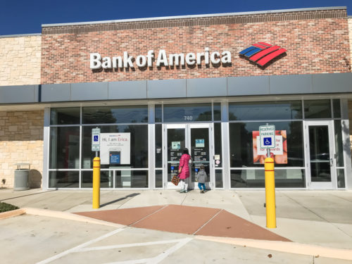 An image of the exterior of a Bank of America.