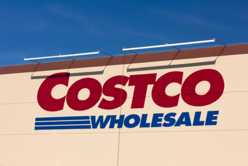 An image of the exterior of a Costco wholesale store.