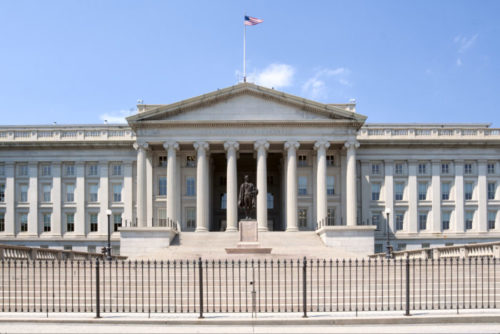 The US Department of Treasury building.