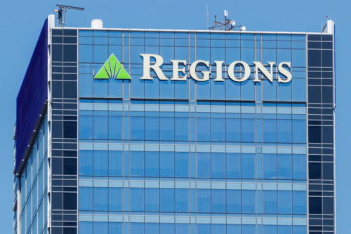 An image of the exterior of a Regions bank.