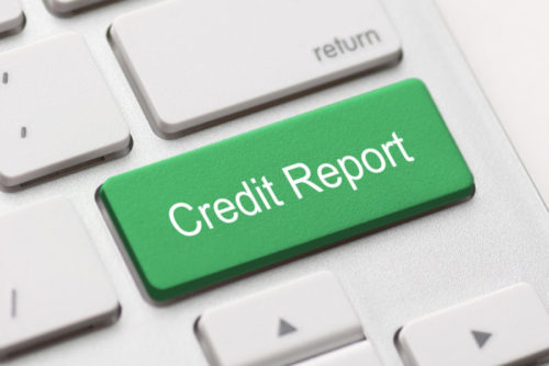 """A green button on a computer keyboard reads """"credit report."""""""