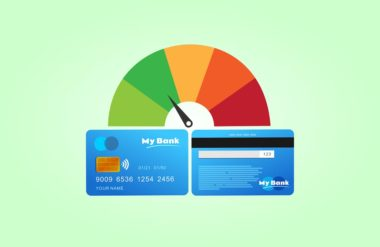 Graphic of a credit card with a gauge above it pointing to the green zone depicting a credit card utilization calculator